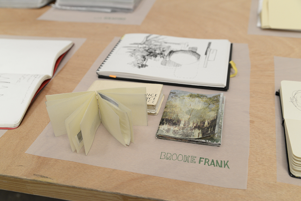Flip Out: Artists' Sketchbooks, installation view, Brooke Frank, photo by Voltagge