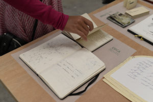 Flip Out: Artists' Sketchbooks, installation view, Erica Mohan, photo by Voltagge