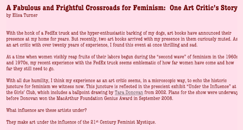 a fabulous and frightful crossroads for feminism one art critic s former art critic for the miami herald currently blogging for artcircuits com contributed this essay for girls club exhibition under the influence